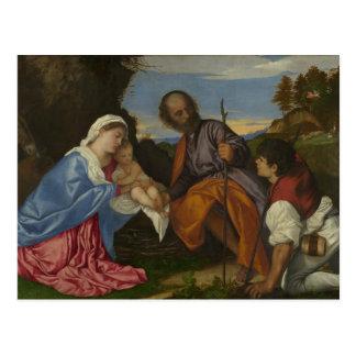 Titian - die heilige Familie mit einem Schäfer Postkarte