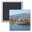 Titicaca-See - sich hin- und herbewegende Insel Quadratischer Magnet