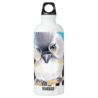Titmouse-Polka-Blau Wasserflasche