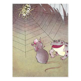 Tittle-Maus- und Garten-Kröten-Treffen-Spinne Postkarte