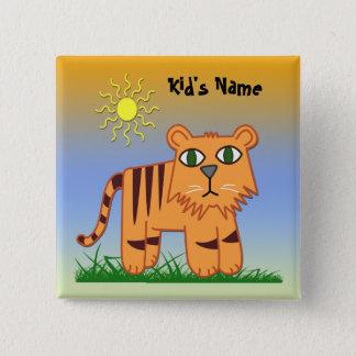 TJ der quadratische Knopf des Tiger-niedliche Quadratischer Button 5,1 Cm