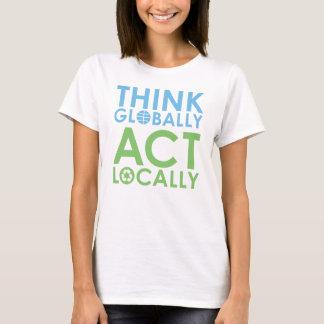 TJED grüner/blauer Text-Ökologe-T - Shirt