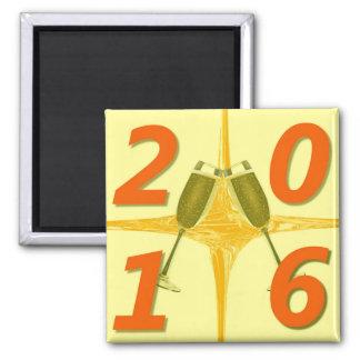 Toast des neuen Jahr-2016 Quadratischer Magnet