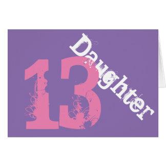 Tochter, 13. Geburtstag, Weiß, rosa auf Purpur Karte