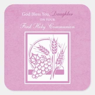Tochter-erste Kommunion, rosa Quadratischer Aufkleber