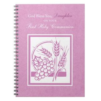 Tochter-erste Kommunion, rosa Spiral Notizblock