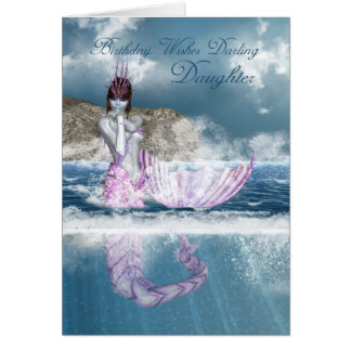 Tochter-Geburtstags-Fantasie-Meerjungfrau mit Grußkarte