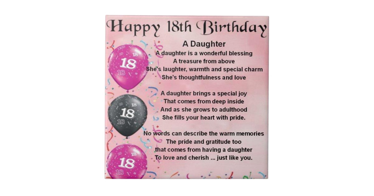 Tochter-Gedicht - 18. Geburtstag Kleine Quadratische