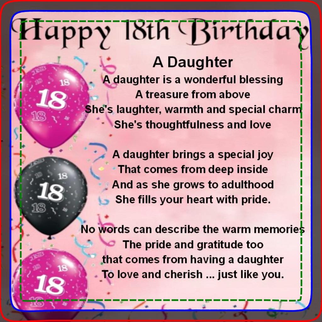 Glückwünsche 18 Geburtstag Tochter Geburtstag