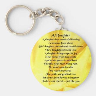 Tochter-Gedicht - gelbe Seide Schlüsselanhänger