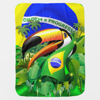 Toco Toucan mit Brasilien-Flagge Baby_Blanket Babydecke