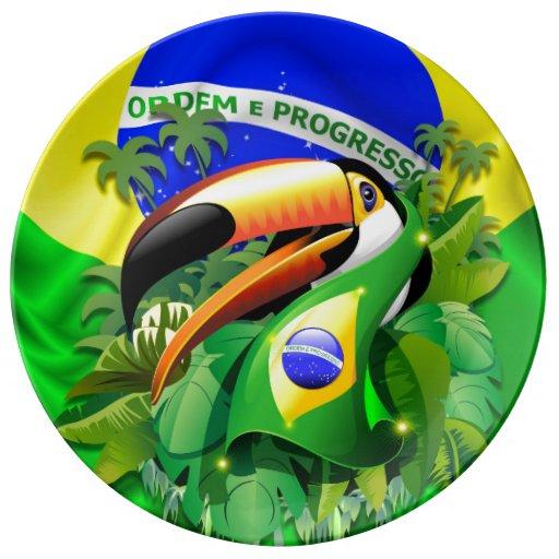 Toco Toucan mit Brasilien-Flaggen-Porzellan-Teller Porzellanteller