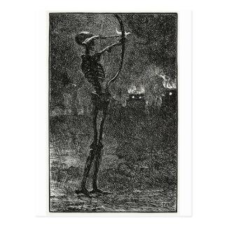 Tod, der Pfeilpostkarte behandelt Postkarte