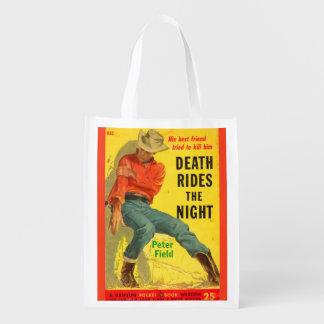 Tod reitet den NachtWestern-Bucheinband Wiederverwendbare Einkaufstasche