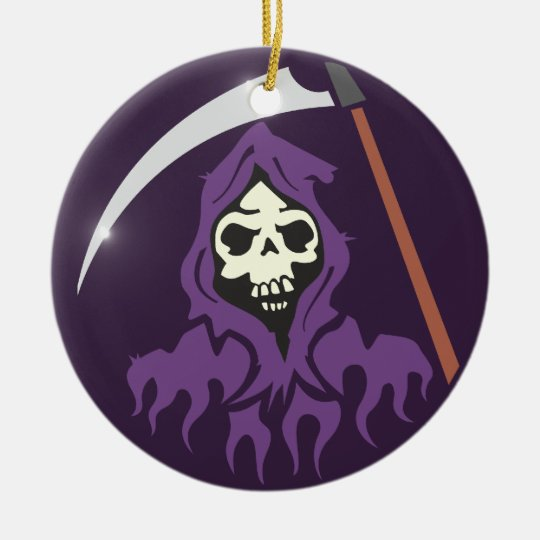 Tod Sensenmann grim reaper Rundes Keramik Ornament