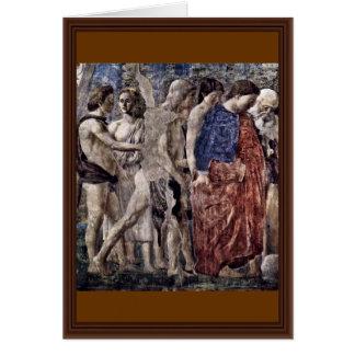 Tod und Beerdigung von Adam. Detail., durch Piero Grußkarte