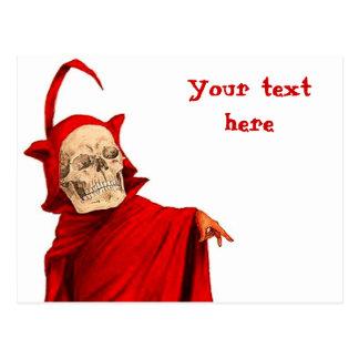 Tod Vintager Teufel-Skeleton Schädel-Halloweens Postkarte
