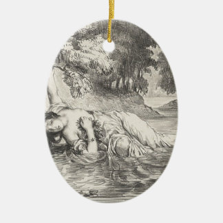 Tod von Ophelia Ovales Keramik Ornament