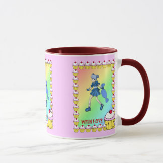 Toffeemädchen mit kleinen Kuchen Tasse