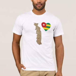 Togo-Flaggen-Herz und Karten-T - Shirt