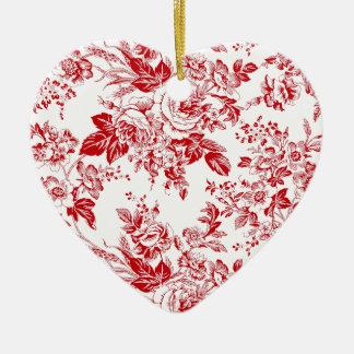 Toile Roses Keramik Ornament