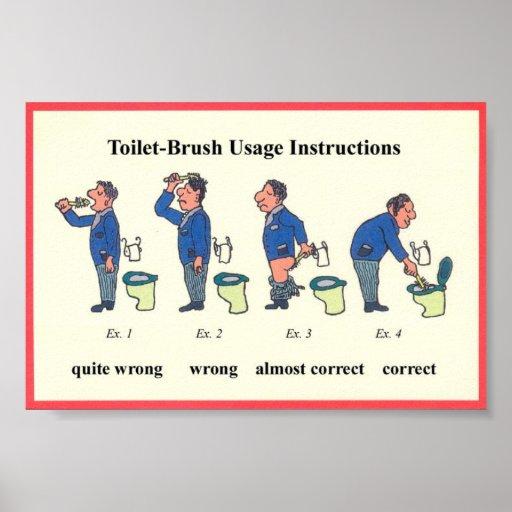 Toiletten-Bürsten-Anweisungen Plakat