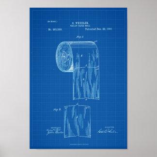 Toilettenpapier-Rollenpatent-Druck-Plakat-Plan Poster