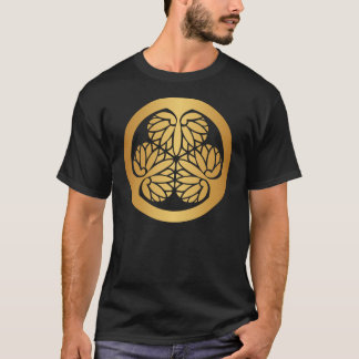 Tokugawa Aoi Japaner-Montag-Familienwappen-Gold T-Shirt