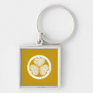 Tokugawa weißes Wappen beunruhigt Silberfarbener Quadratischer Schlüsselanhänger