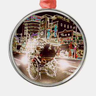 Tokyo-Rickshaw-Nacht Silbernes Ornament