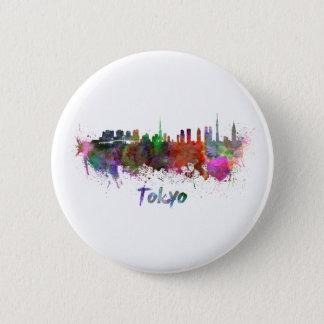 Tokyo skyline im Watercolor Runder Button 5,7 Cm