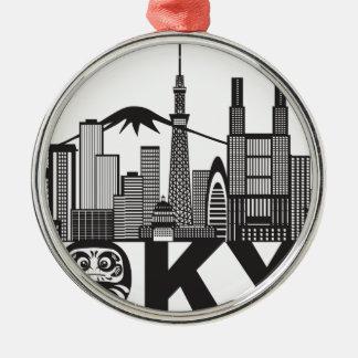 Tokyo-Stadt-Skyline-Text Schwarzweiss Silbernes Ornament