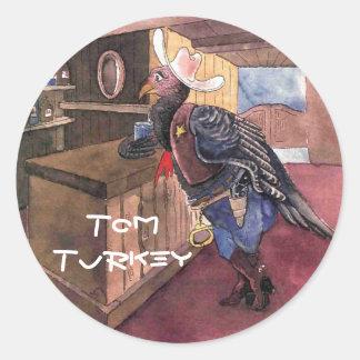 Tom Turkey, der Sheriff - stark und originell Runder Aufkleber