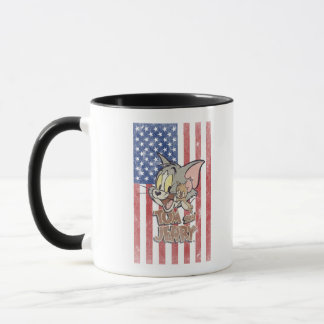 Tom u. Jerry mit US-Flagge Tasse