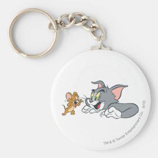 Tom und Jerry machen Gesichter Standard Runder Schlüsselanhänger
