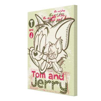 Tom und Jerryrosa und -GRÜN Galerie Falt Leinwand