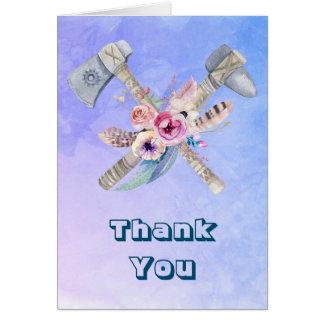 Tomahawk-Federn und Blumen danken Ihnen Karte