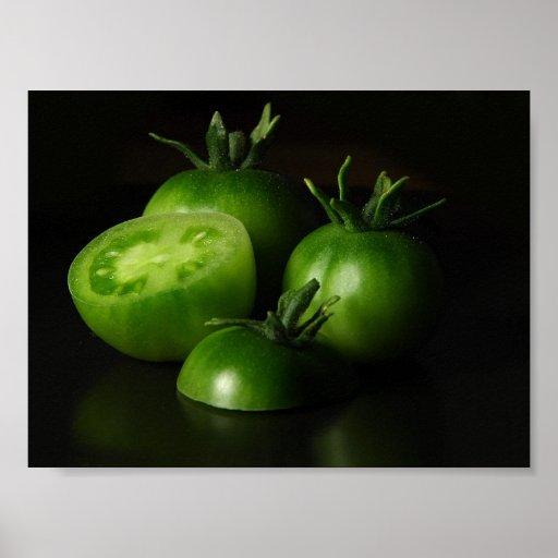 Tomate-grünes Stillleben Plakatdrucke