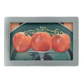 Tomate und Knoblauch Rechteckige Gürtelschnalle