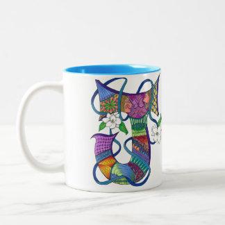 Ton-Kaffee-Tasse des Buchstaben J 2 Zweifarbige Tasse