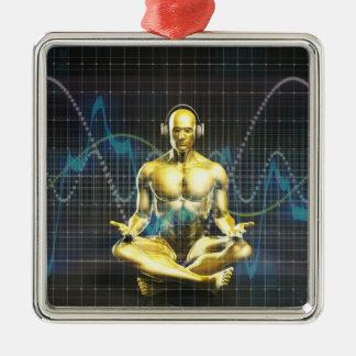Tonanlage der Zukunft mit dem Kopfhörer-Spielen Silbernes Ornament