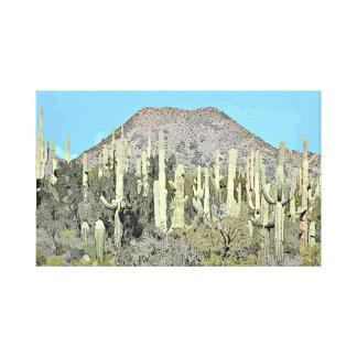 Tonto Saguaros in der Cartoon-Wand-Leinwand Leinwanddruck
