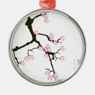 Tony Fernandes Kirschblüte glückliche 7 Silbernes Ornament
