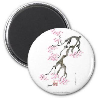tony fernandes Kirschblüte mit rosa Goldfisch Runder Magnet 5,7 Cm
