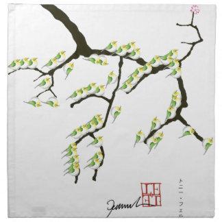 tony fernandes Kirschblüte und grüne Vögel Serviette