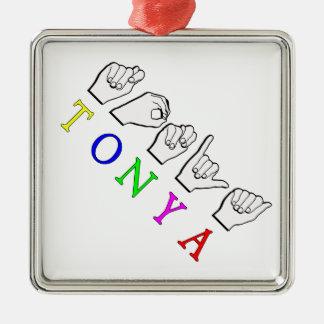 TONYA ASL FINGERSPELLED NAMENSzeichen Silbernes Ornament