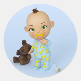 Toon-Baby-Aufkleber Runder Aufkleber