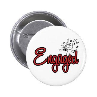 ToonDoveEngagedRed Runder Button 5,7 Cm