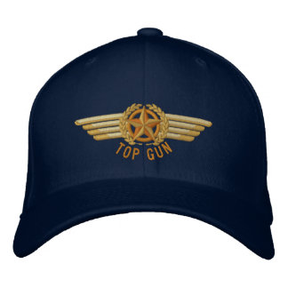 Top Gun-Luftfahrt-Stern-Lorbeer-Versuchsflügel Bestickte Baseballkappe