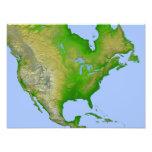 Topographische Ansicht von Nordamerika Photo Druck